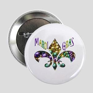 "Mardi Gras Fleur 2.25"" Button (10 Pack)"