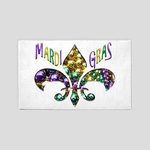 Mardi Gras Fleur 3'x5' Area Rug
