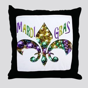 Mardi Gras Fleur Throw Pillow