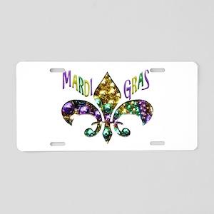 Mardi Gras Fleur Aluminum License Plate