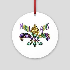 Mardi Gras Fleur Ornament (round)