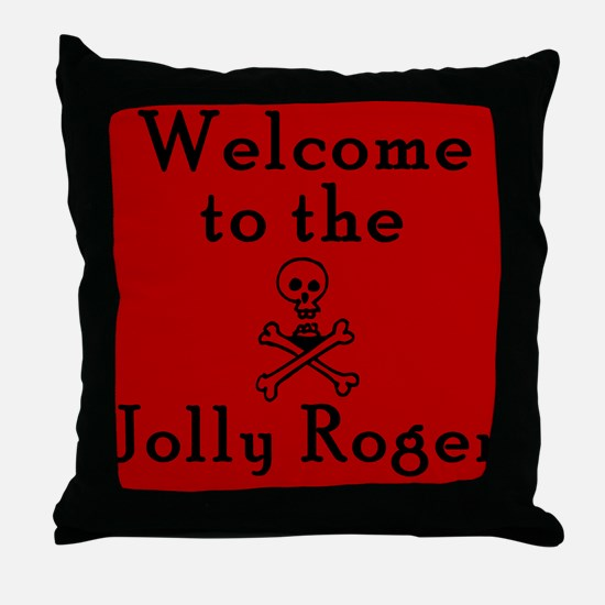 Welcome to the Jolly Roger Pirate Throw Pillow