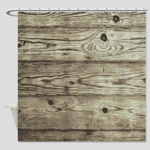 Wood Pattern Weathered Plank Shower Curtain