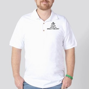 Keep calm and kiss the Speech Therapist Golf Shirt