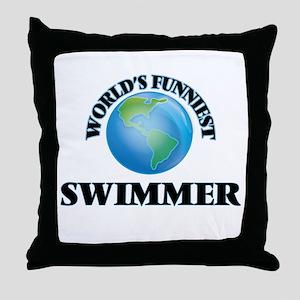 World's Funniest Swimmer Throw Pillow