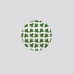 Christmas Holly and Berries Pattern Mini Button