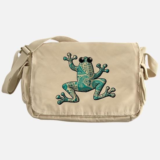 Turquoise White Frog Messenger Bag