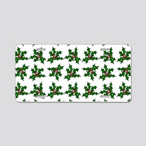 Christmas Holly and Berries Aluminum License Plate