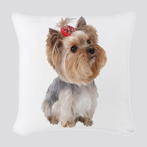 Yorkie Portrait Woven Throw Pillow