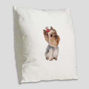 Yorkie Portrait Burlap Throw Pillow