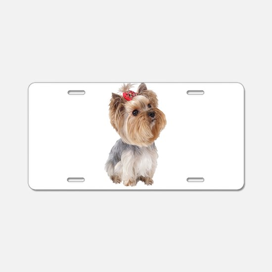 Yorkie Portrait Aluminum License Plate