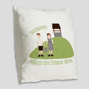 Teamwork Burlap Throw Pillow