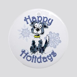 Callie's Border Collie Snowflake Ornament (Round)