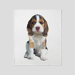 Beagle Puppy Portrait Throw Blanket