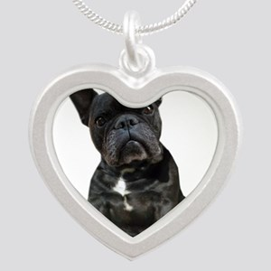 French Bulldog Puppy Portrai Silver Heart Necklace