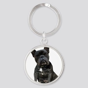 French Bulldog Puppy Portrait Round Keychain