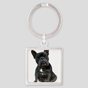 French Bulldog Puppy Portrait Square Keychain