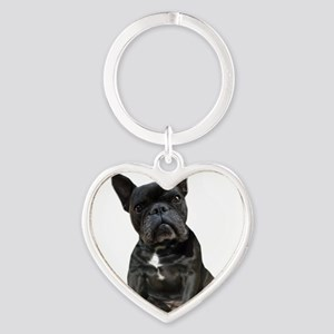 French Bulldog Puppy Portrait Heart Keychain