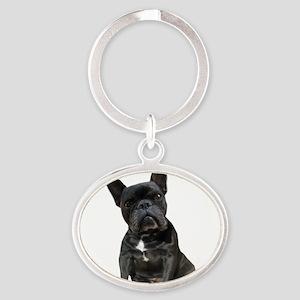 French Bulldog Puppy Portrait Oval Keychain