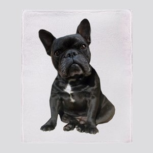 French Bulldog Puppy Portrait Throw Blanket