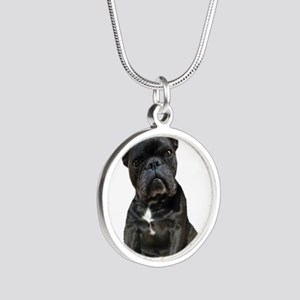 French Bulldog Puppy Portrai Silver Round Necklace
