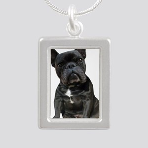 French Bulldog Puppy Por Silver Portrait Necklace