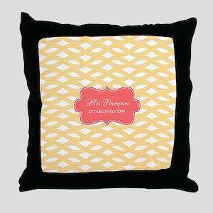 Coral Yellow Family Monogram Throw Pillow