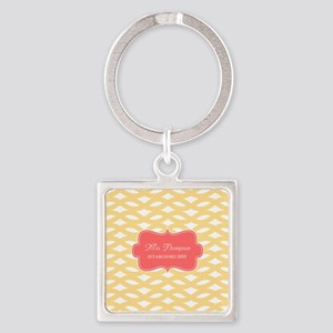 Coral Yellow Family Monogram Square Keychain