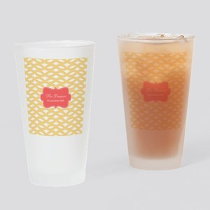 Coral Yellow Family Monogram Drinking Glass