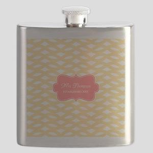 Coral Yellow Family Monogram Flask