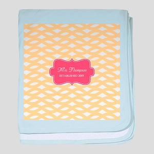 Coral Yellow Family Monogram baby blanket