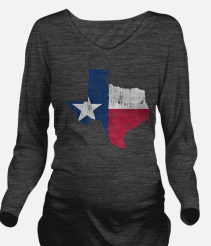 Vintage Texas State Outline Flag Long Sleeve Mater