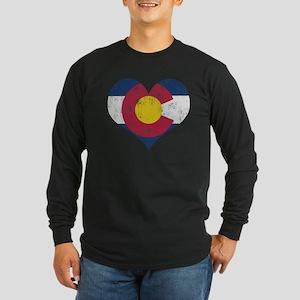 Vintage Colorado State Flag Heart Long Sleeve T-Sh
