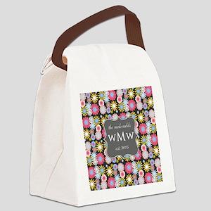 Floral Custom Family Monogram Canvas Lunch Bag