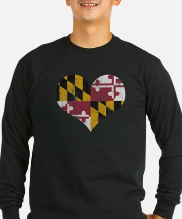 Vintage State of Maryland Flag Heart Long Sleeve T
