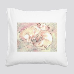 Piglets dreaming Square Canvas Pillow