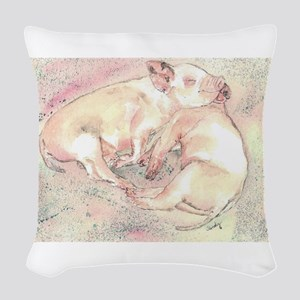 Piglets dreaming Woven Throw Pillow