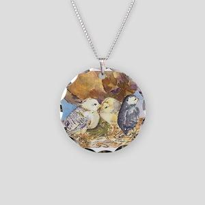 Three little chicks Necklace Circle Charm