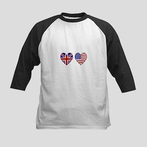 USA Union Jack Hearts on White Baseball Jersey