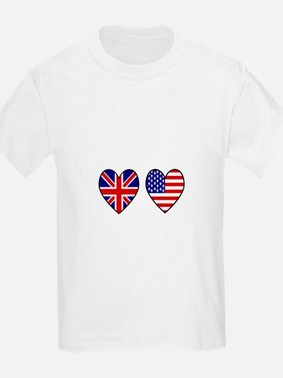 USA Union Jack Hearts on White T-Shirt