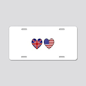 USA Union Jack Hearts on Wh Aluminum License Plate