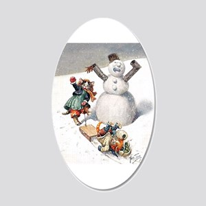 Kittens Play in The Snow 20x12 Oval Wall Decal