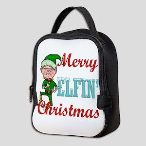 Funny Elfin Christmas Neoprene Lunch Bag