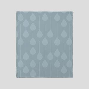 Blue Gray Rain Throw Blanket