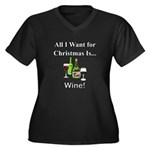 Christmas Wi Women's Plus Size V-Neck Dark T-Shirt