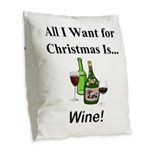 Christmas Wine Burlap Throw Pillow