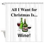 Christmas Wine Shower Curtain