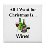Christmas Wine Tile Coaster