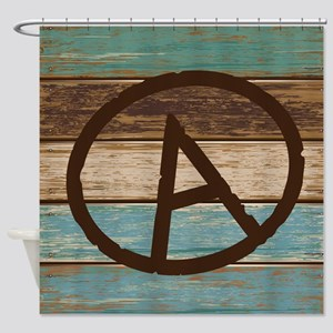Weathered Wood A Monogram Shower Curtain