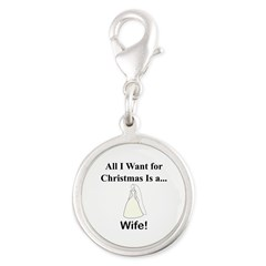 Christmas Wife Silver Round Charm